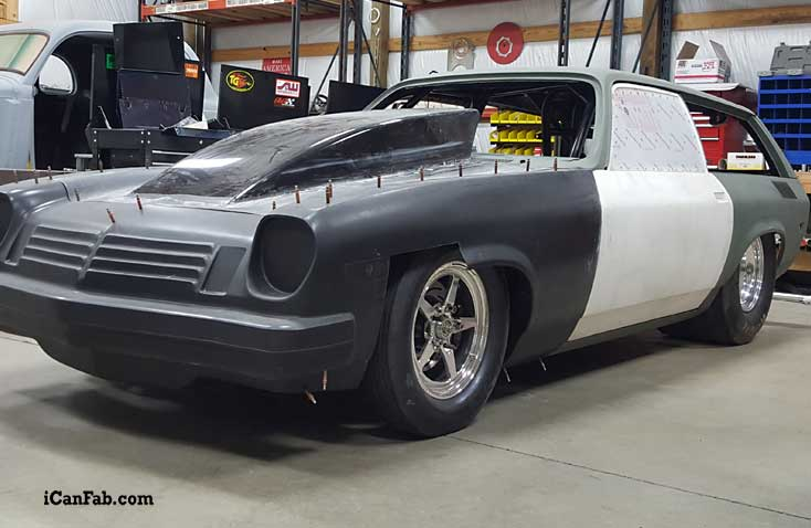 Drag car build in the final stages    Look at the stance of